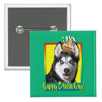 Birthday Cupcake - Siberian Husky Buttons