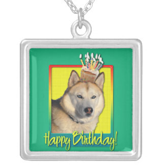 Birthday Cupcake - Siberian Husky - Copper Personalized Necklace