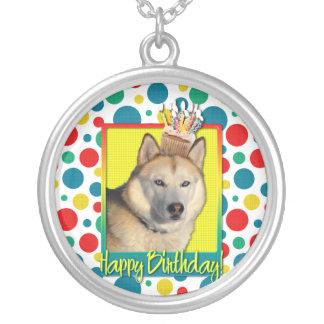 Birthday Cupcake - Siberian Husky - Copper Necklace