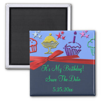 Birthday Cupcake Treat Surprise Save Date Magnet