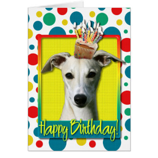 Birthday Cupcake - Whippet Greeting Card