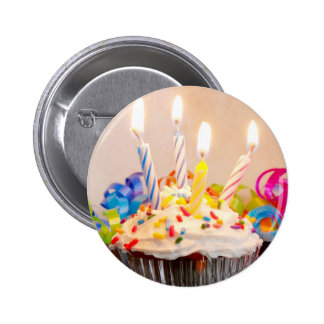 Birthday Cupcake with Candles Button
