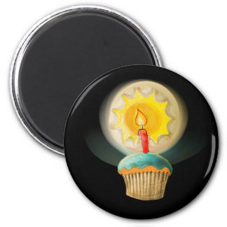 Birthday Cupcake with Glowing Candle  Button Magnet