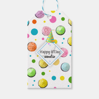 Birthday Cupcakes and Dots Monogram Gift Tags