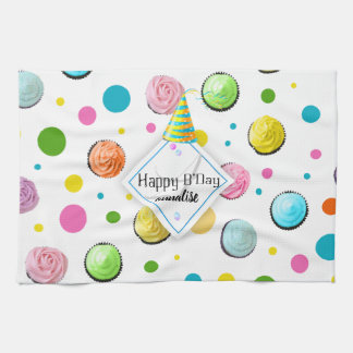 Birthday Cupcakes and Dots Monogram Kitchen Towel