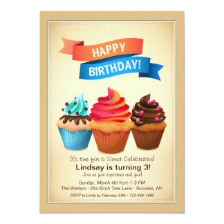 Birthday Cupcakes Invitation