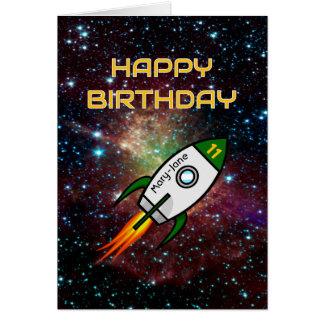 Birthday custom name any age green rocket card