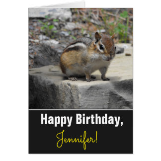 Birthday + Cute Chipmunk Like Critter on a Rock Card