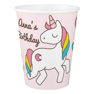 Birthday. Cute Unicorn with Cute Hearts. Add Name. Paper Cup