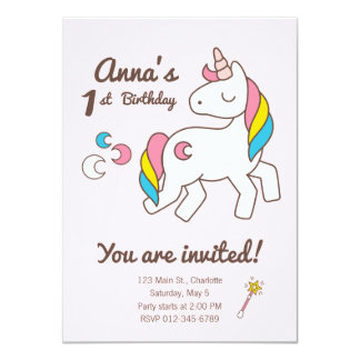 Birthday. Cute Unicorn with Cute Wand & Crescents Card