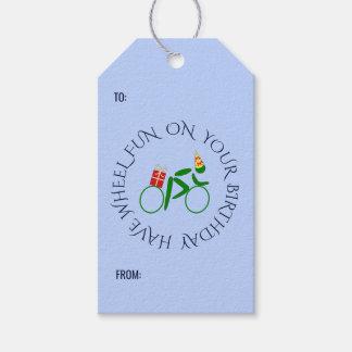 Birthday cyclist custom text blue gift tags