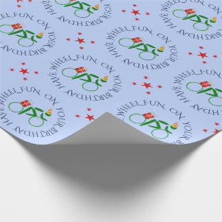 Birthday cyclist custom text green blue wrapping paper