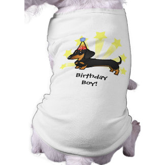 Birthday Dachshund (smooth coat) Doggie Tshirt