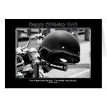 Birthday - Dad - Biker Helmet - Motorcycle Greeting Card