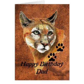 Birthday Dad Cougar, Puma, Mountain Lion Animal Card