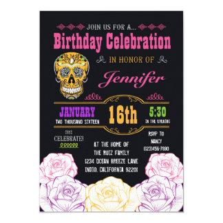 Birthday Day of the Dead Sugar Skull Invitation