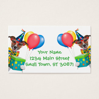 Birthday Dog With Balloons Tie and Glasses Business Card