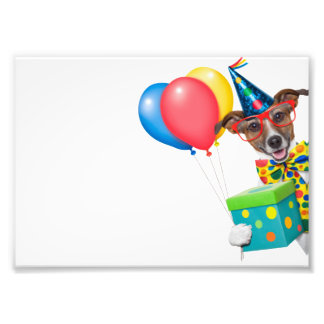 Birthday Dog With Balloons Tie and Glasses Art Photo