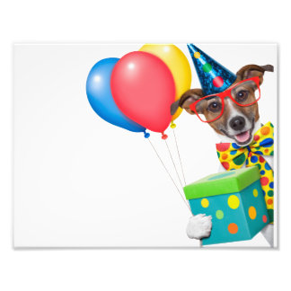 Birthday Dog With Balloons Tie and Glasses Photo Art