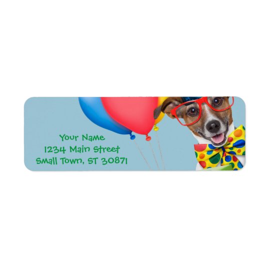 Birthday Dog With Balloons Tie and Glasses Return Address Label