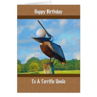 Birthday d'oncle, pélican avec la carte de boule