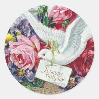 Birthday Dove Round Stickers