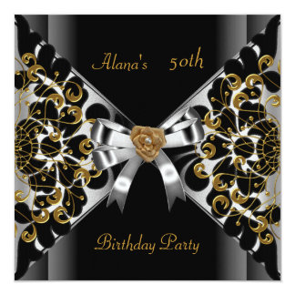 Birthday Elegant Black Silver Gold Party 50th Card