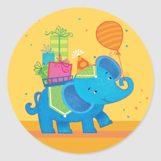 Birthday Elephant with balloons & Presents Sticker