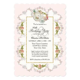 "Birthday Fairy Tea Party, Roses Teapot n Cups 5"" X 7"" Invitation Card"