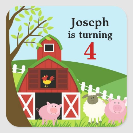 Birthday Farm Animals Age Sticker