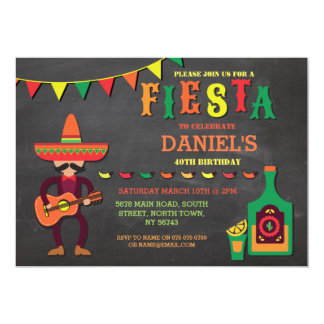 Birthday Fiesta Mexico Mexican Man Party Invite