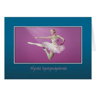 Birthday, Finnish, Leaping Ballerina Card