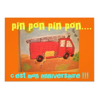 "birthday firemen 5"" x 7"" invitation card"