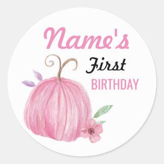 birthday Flower Girl Pumpkin Pink Sticker Any Age