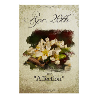 """Birthday flowers on April 20th """"Pear"""" Poster"""
