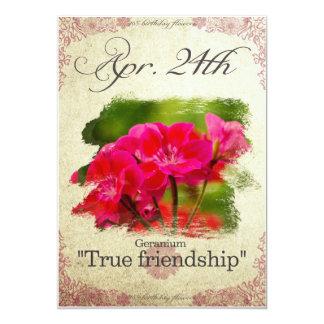 "Birthday flowers on April 24th ""Geranium"" Card"