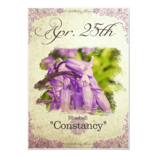 """Birthday flowers on April 25th """"Bluebell"""" Card"""