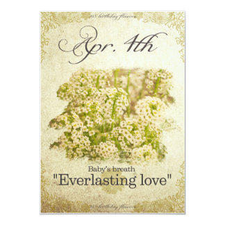 """Birthday flowers on April 4th """"Baby's breath"""" Card"""