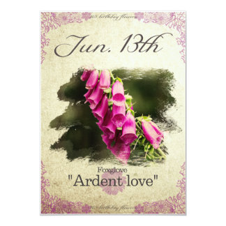 "Birthday flowers on June 13th ""Foxglove"" Card"