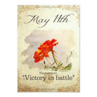"Birthday flowers on May 11th ""Nasturtium"" Card"