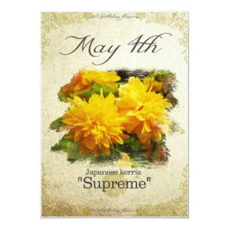 """Birthday flowers on May 4th """"Japanese kerria"""" Card"""