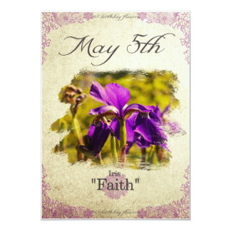 "Birthday flowers on May 5th ""Iris"" Card"