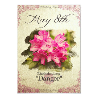 """Birthday flowers on May 8th """"Rhododendron"""" Card"""