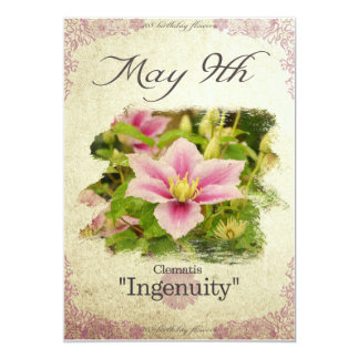 """Birthday flowers on May 9th """"Clematis"""" Card"""