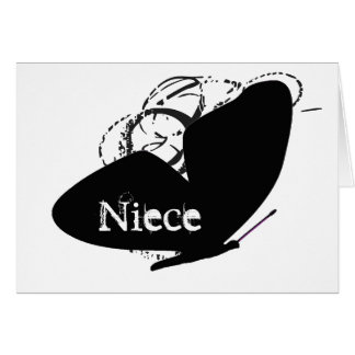 Birthday for a niece, big, black butterfly, text. card
