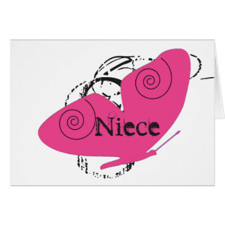 Birthday for a niece, big, pink butterfly, text. greeting card