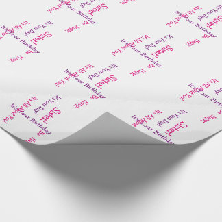 Birthday for a sister, pink and purple. wrapping paper