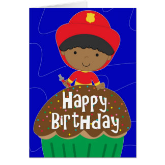Birthday for Boy - Little Firefighter with Cupcake Greeting Card
