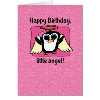 Birthday for Girl - Little Angel Penguin Greeting Card
