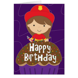 Birthday for Girl - Little Firefighter and Cupcake Greeting Card